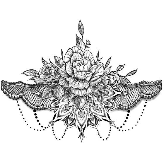 tatouage éphémère underboob rose et ornements