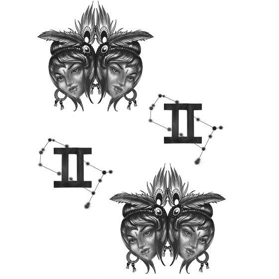Tatouage éphémère zodiaque gémeaux