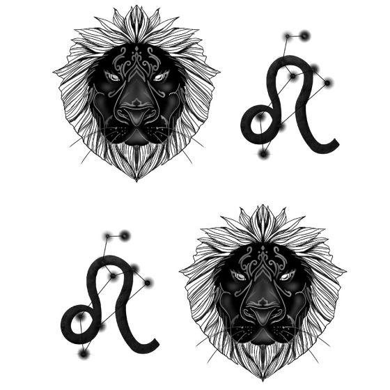 Tatouage éphémère zodiaque Lion