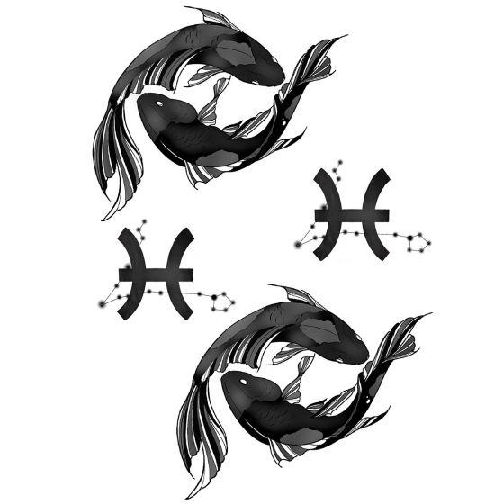 Tatouage éphémère zodiaque poisson