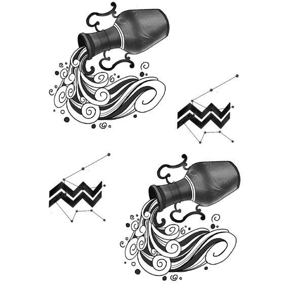 Tatouage éphémère zodiaque verseau